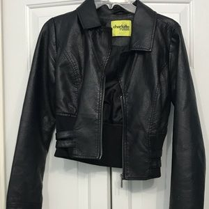 Black Jacket Crop Leather Look/Feel